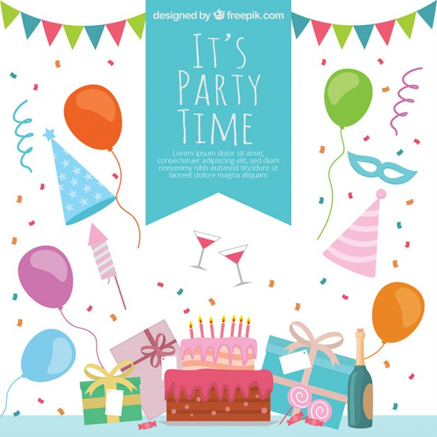 626x626 Colorful Party Time Decoration Vector Free Download
