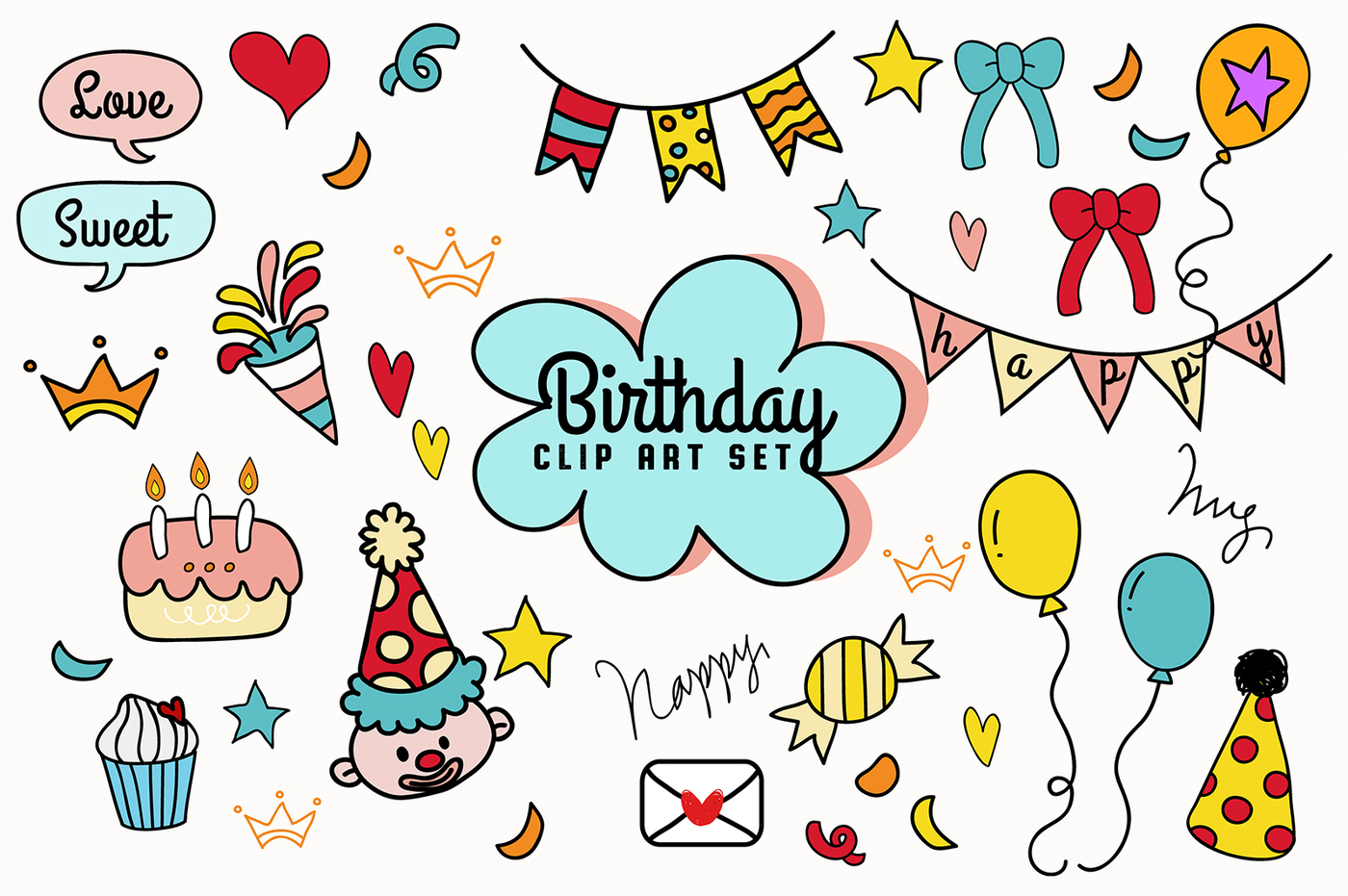1400x931 Hand Drawn Birthday Party Vector Clip Art Set By Paperly Studio