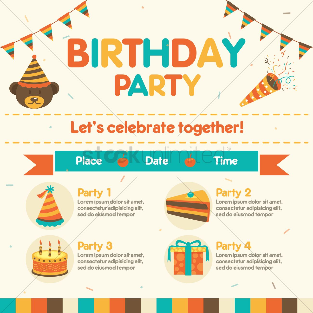 1300x1300 Infographic Of Birthday Party Vector Image