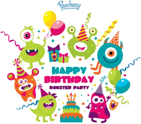 600x528 Monster Birthday Party Free Vector In Adobe Illustrator Ai ( .ai
