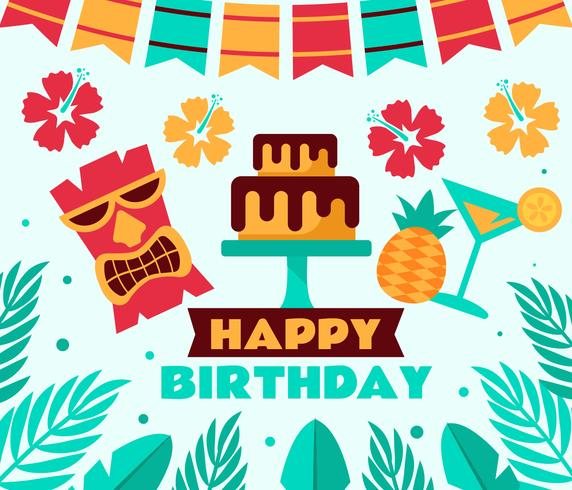 572x490 Tropical Birthday Party Vector
