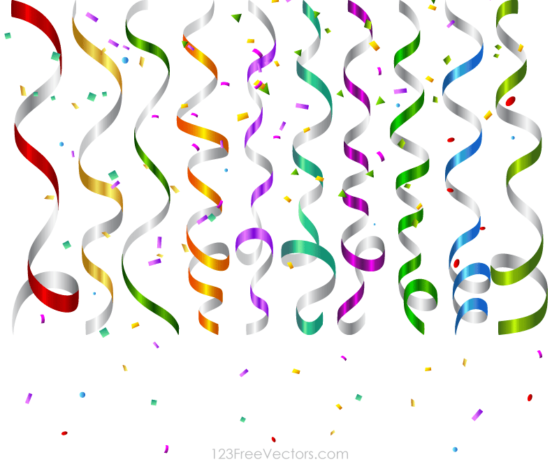 800x675 Vector Colorful Birthday Party Streamers And Confetti Background
