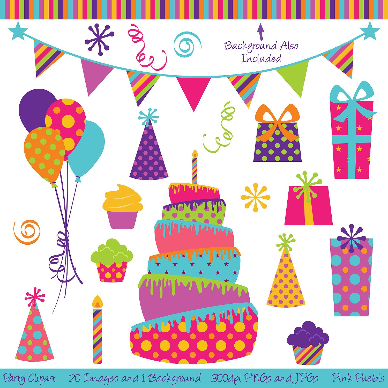 1500x1500 Birthday Party Vector Art ~ Image Inspiration Of Cake And