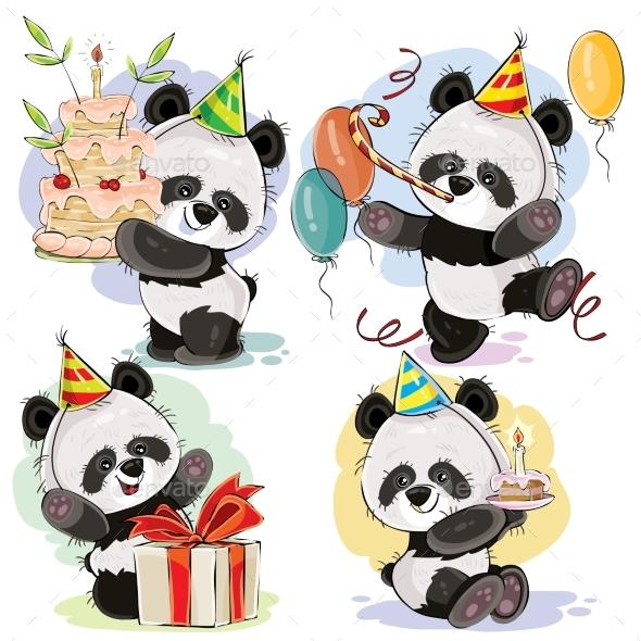 590x590 Happy Birthday Vector Set With Baby Panda Bears By Vectorpocket