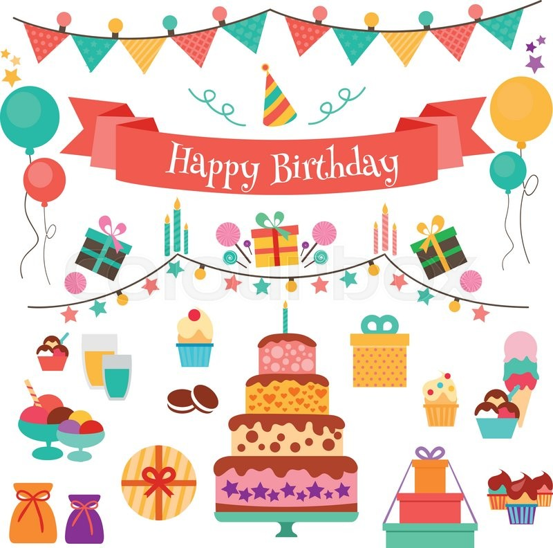 800x792 Happy Birthday Vector Concept. Set Of Birthday Holiday Icons And