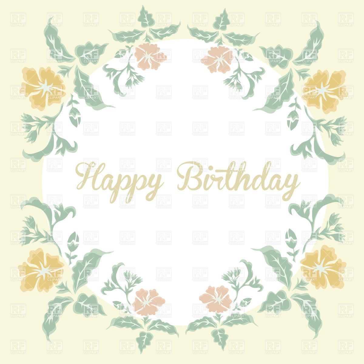1200x1200 Vintage Floral Card With Inscription Happy Birthday Vector Image