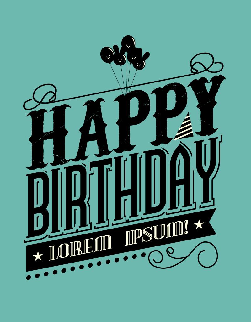 800x1023 Black Happy Birthday Vector Free Vector Graphic Download