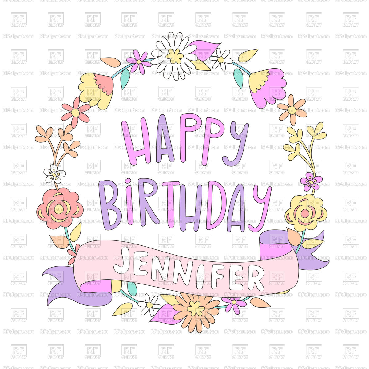 1200x1200 Happy Birthday Card With Flower Frame Vector Image Vector