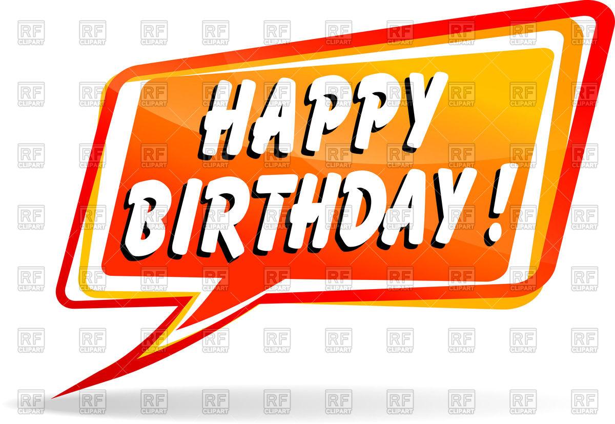 1200x827 Cartoon Speech Bubble With Greetings Happy Birthday Vector Image