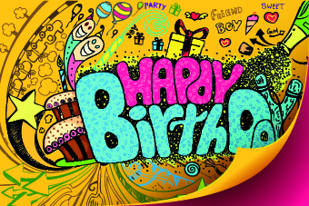 340x227 Funny Happy Birthday Vector Background Free Vector In Encapsulated