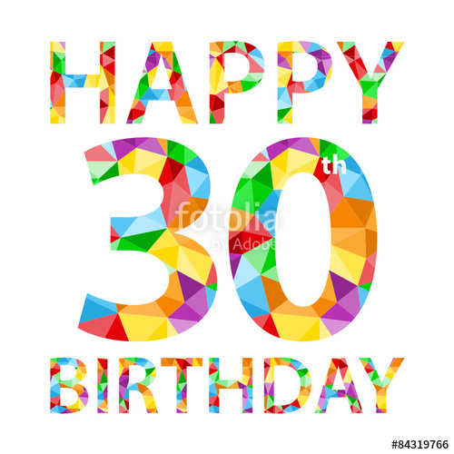 500x500 Happy 30th Birthday Vector Polygon Pattern Card Stock Image And