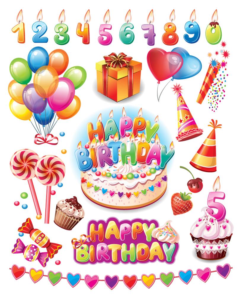 810x996 Happy Birthday Party Supplies Vector Free Vector Graphic Download