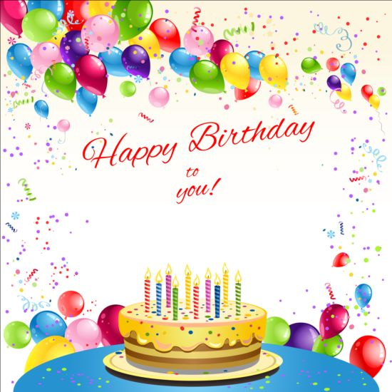 550x550 Happy Birthday Card With Balloon And Cake Vector Free Download