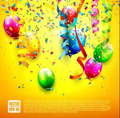 396x389 Birthday Colored Balloons With Colorful Ribbon Background Vector