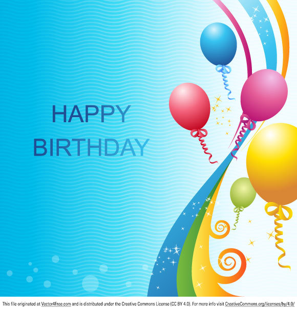 580x608 Free Vector Birthday Template