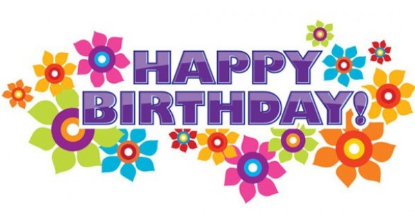 600x318 Glossy Floral Happy Birthday Vector Banner