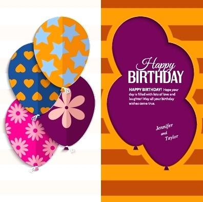 396x394 Greeting Card Template For Birthday Vector Material Templates