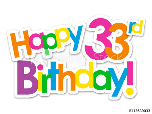 500x375 Happy 33rd Birthday Vector Card