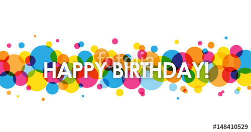 500x263 Happy Birthday Vector Card With Colourful Circles Background