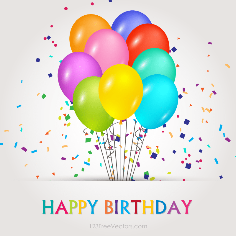 800x800 Happy Birthday Vector Banners With Balloons Illustration