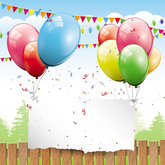 550x549 Happy Birthday Balloons Vector