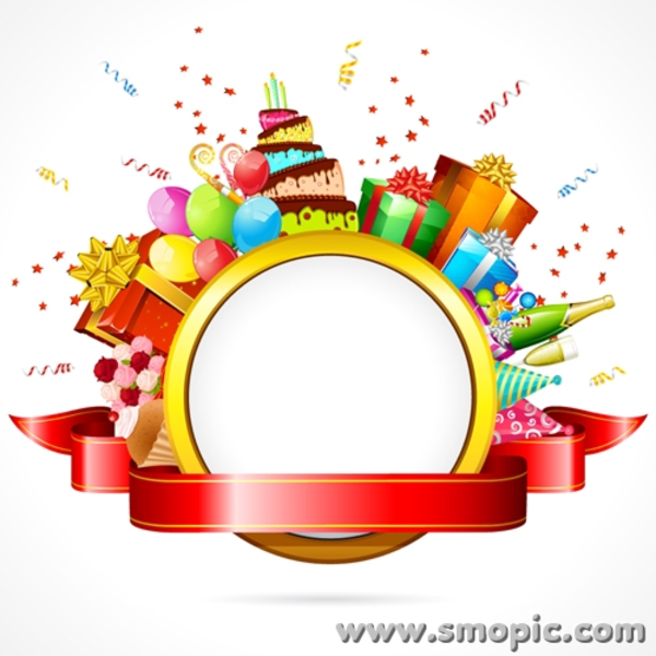 600x600 Smopic Com Free Vector Birthday Photo Frame Wreath Illustrator The