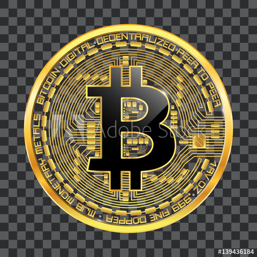 500x500 Crypto Currency Golden Coin With Black Lackered Bitcoin Symbol On