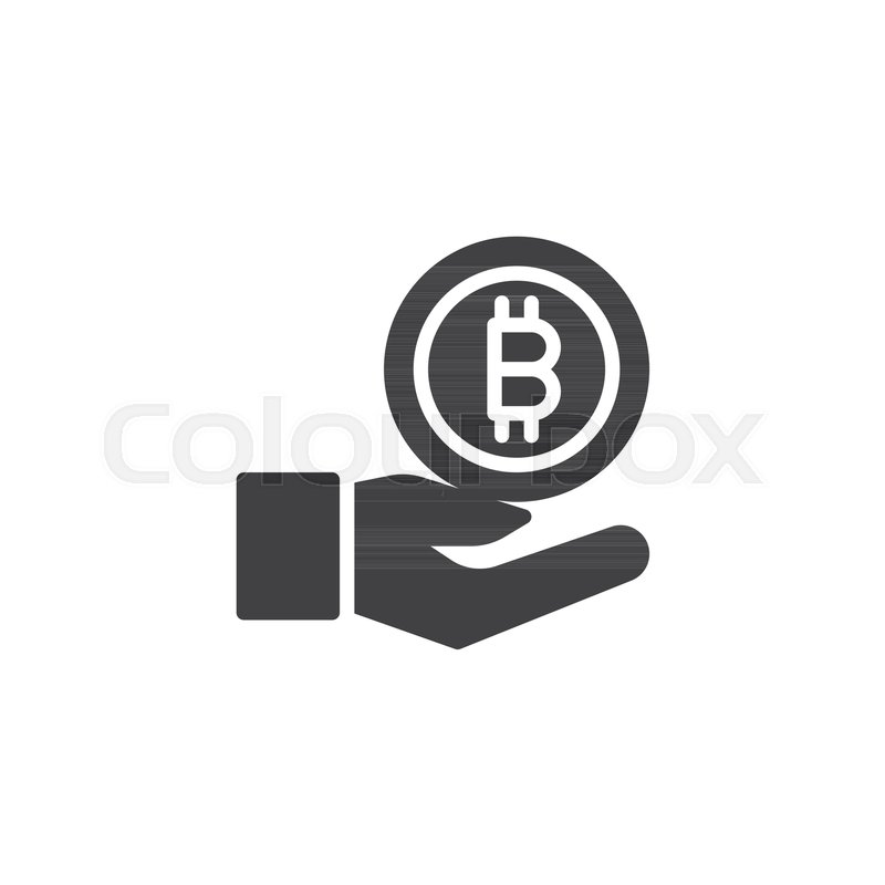 800x800 Hand With Bitcoin Vector Icon. Filled Flat Sign For Mobile Concept