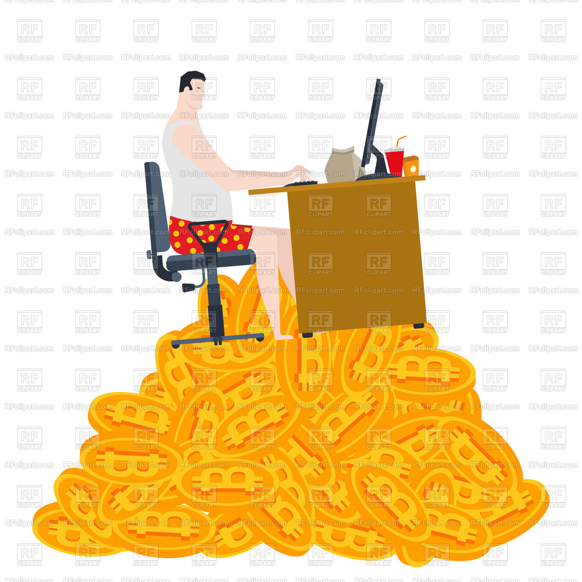 1200x1200 Home Mining Bitcoin. Freelancer Sits On Pile Of Bitcoins. Vector
