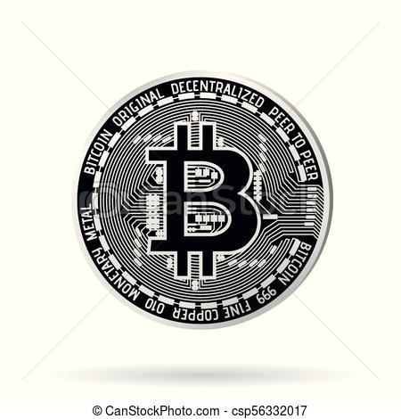 450x470 Vector Realistic Silver Bitcoin. Vector Realistic Silver Bitcoin