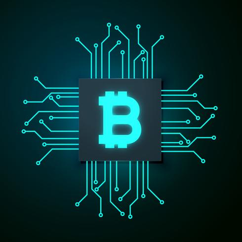 490x490 Technology Style Bitcoin Vector Background