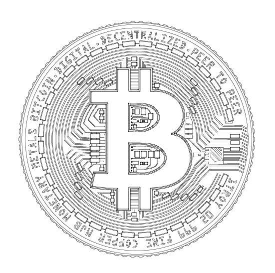 551x547 Bitcoin Btc Detailed Model 2d Vector Drawing Logo