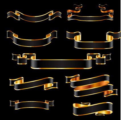 425x423 Black And Gold Ribbon Vector Free Download