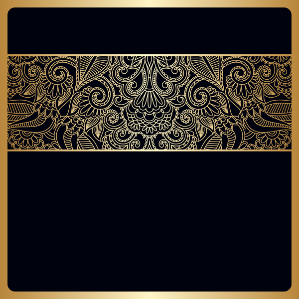 600x600 Black Background With Ornate Ornament Gold Vector 03 Free Download