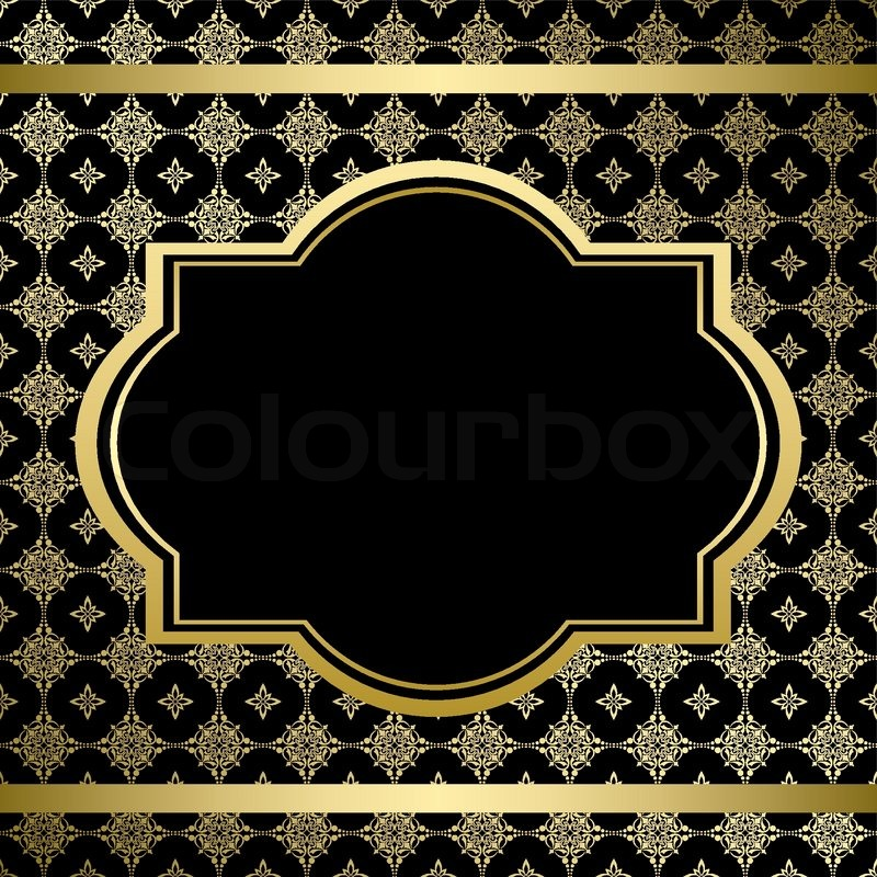 800x800 Black Vintage Card With Gold Ornament