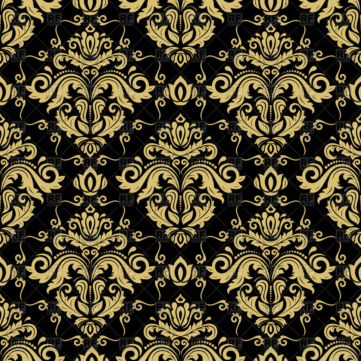 1200x1200 Damask Black And Gold Seamless Pattern Vector Image Vector