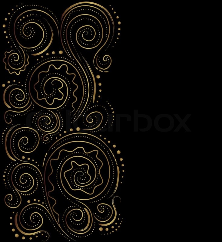733x800 Design Black And Gold Vector Ornate Background Stock Vector