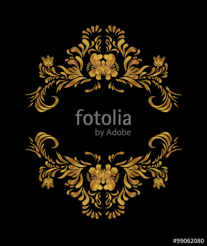 421x500 Golden Floral Design On Black Background. Gold Vector Pattern