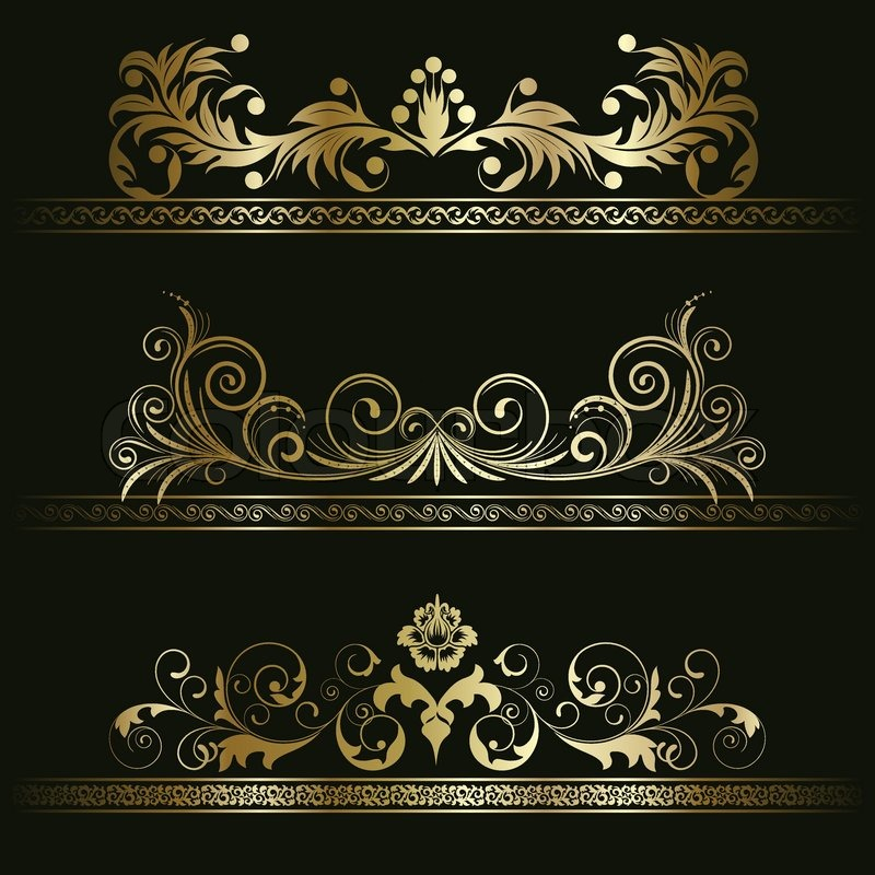 800x800 Set From Gold Retro Frames On The Black Floral Background Stock
