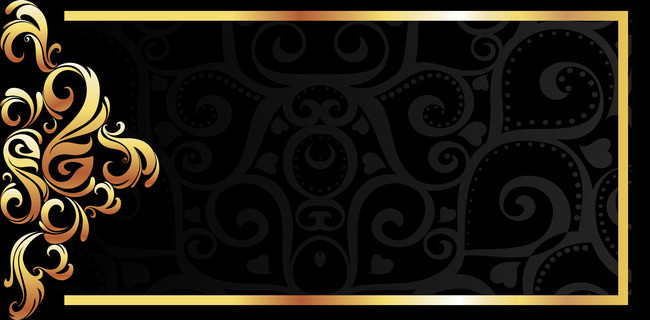 650x320 Vector Gold Frame On Black Background Material Pattern, Vector