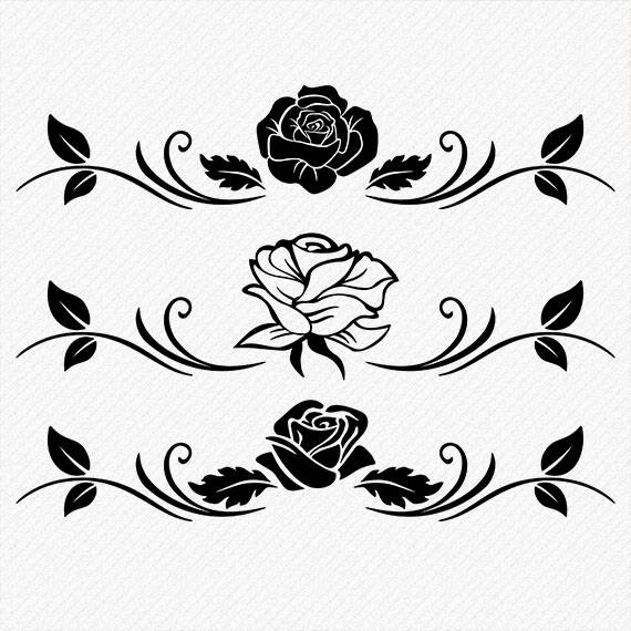 570x570 Rose Silhouette Rose Clipart Rose Vector Roses Clipart Etsy