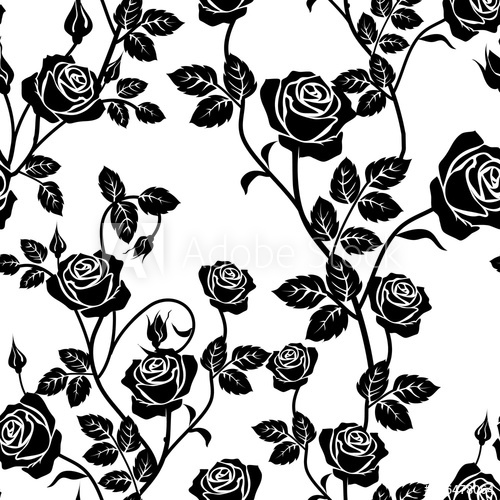 500x500 Rose Seamless Pattern. Black And White Seamless Pattern With