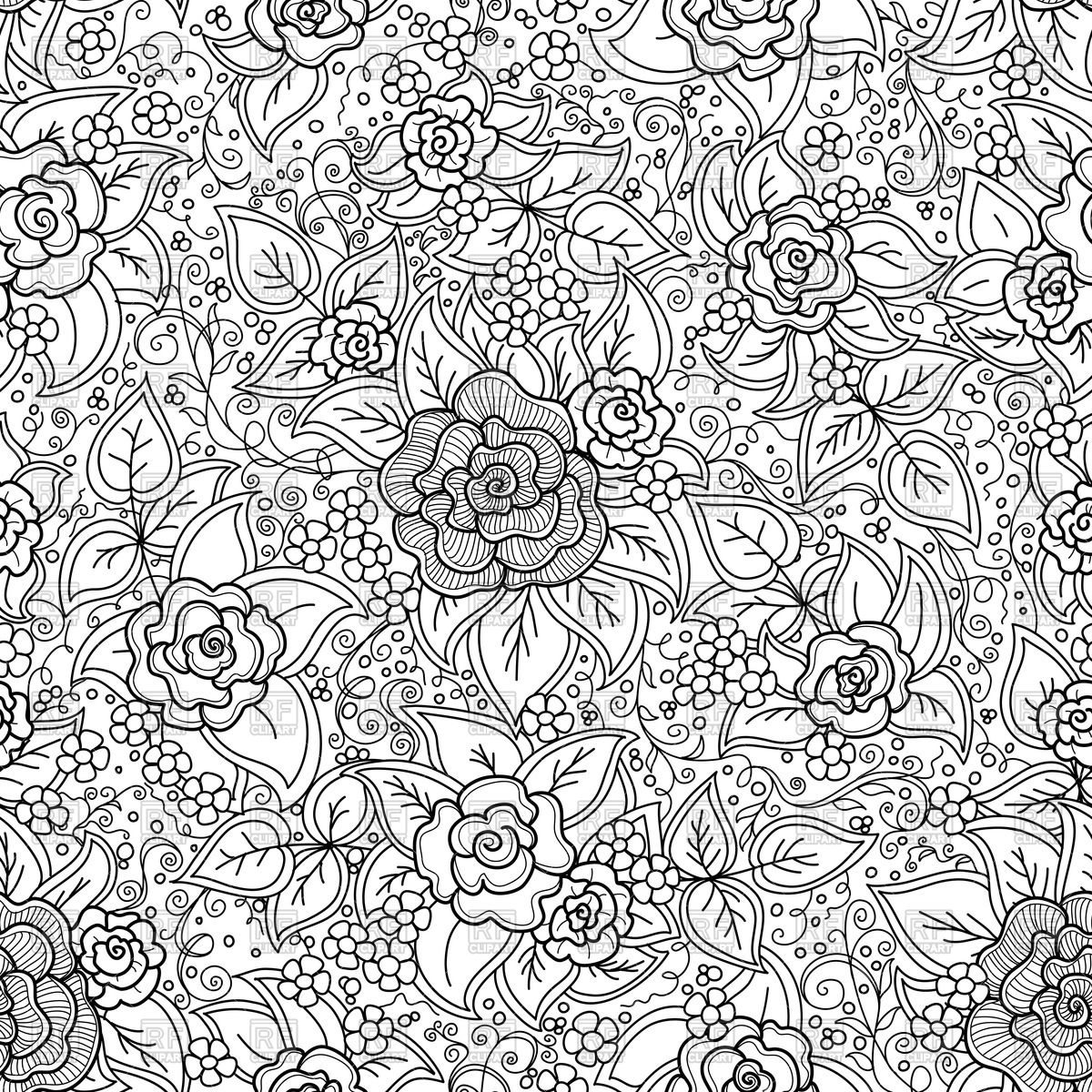 1200x1200 Seamless Black And White Pattern With Doodle Roses Vector Image
