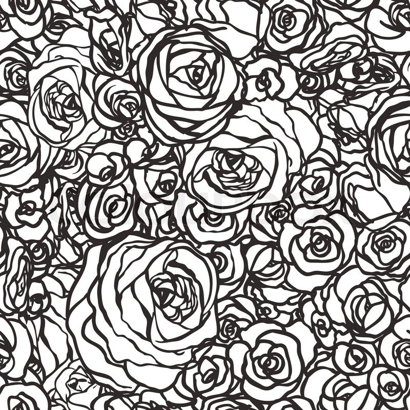 800x800 Seamless Pattern With Flowers Roses, Vector Floral Illustration In