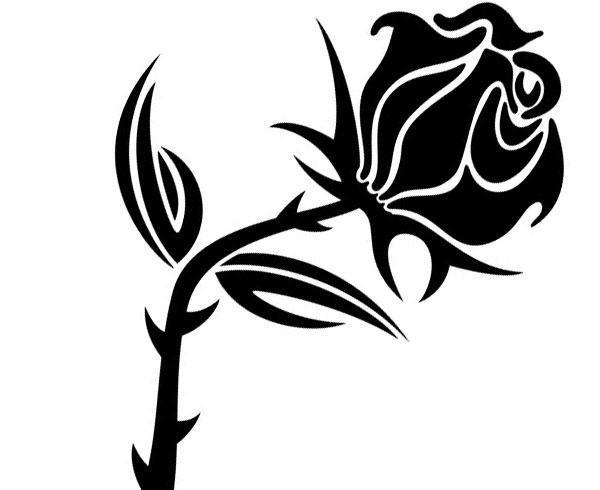 600x490 Black Rose Vector Image 123freevectors