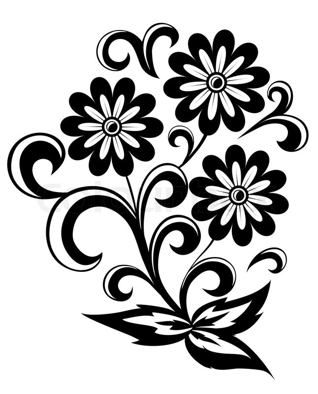 646x800 Black And White Abstract Flower With Leaves And Swirls Isolated On