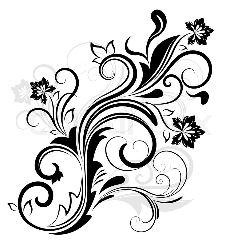 800x800 Black And White Floral Design Element Isolated On White. Stock