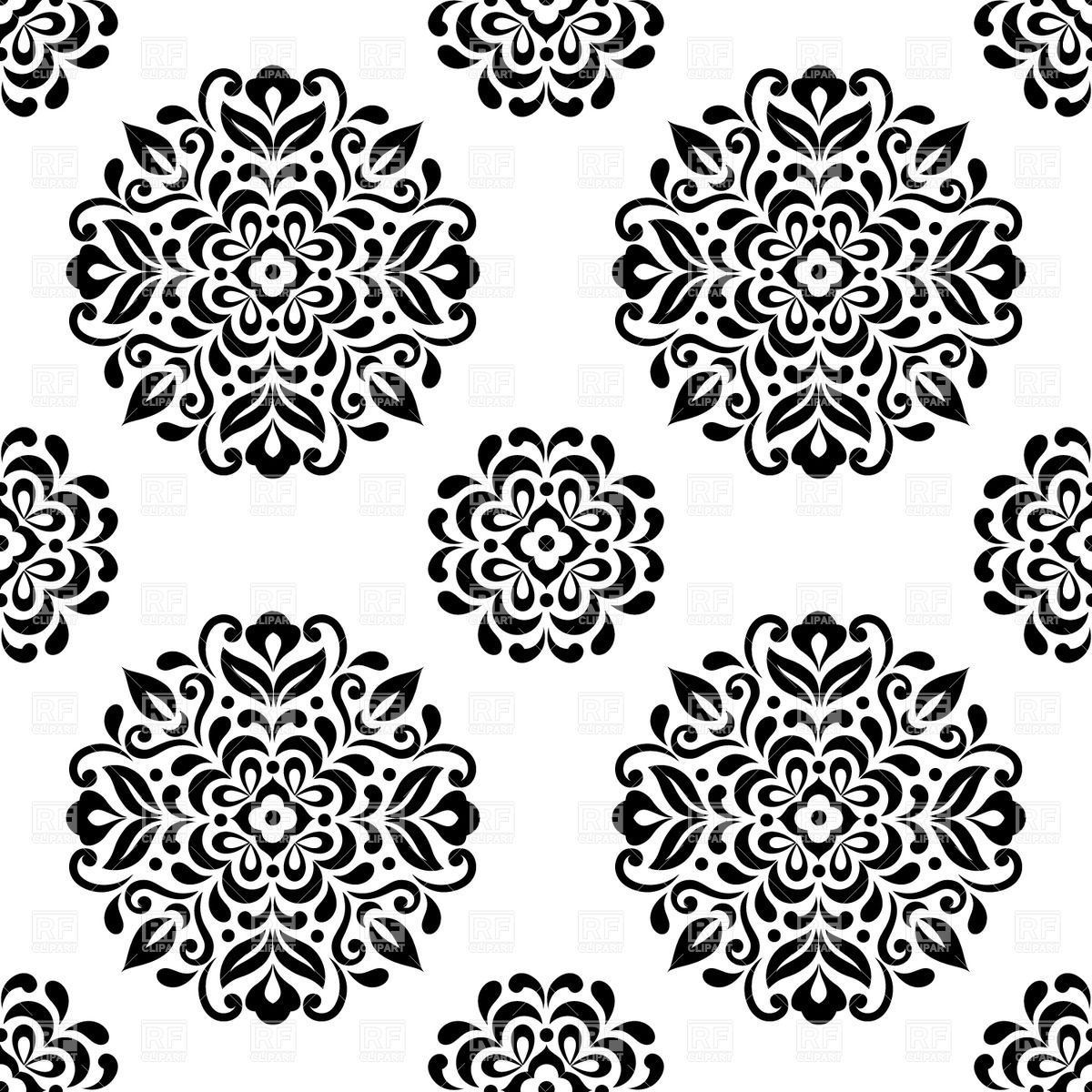 1200x1200 Black And White Seamless Wallpaper With Stylized Round Flowers