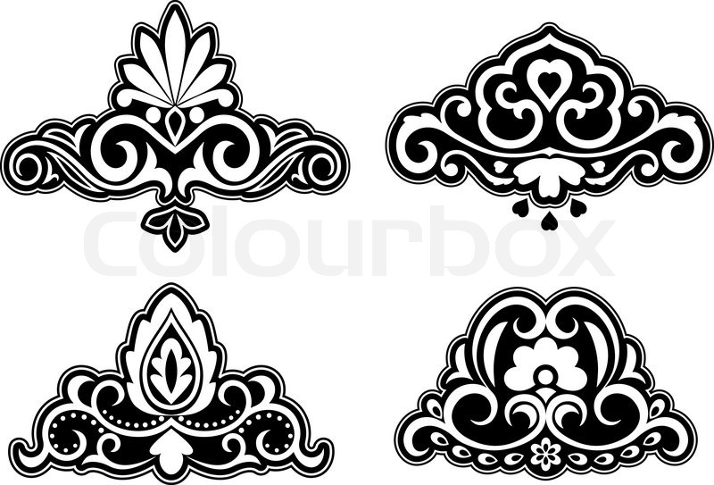 800x543 Flower Patterns And Borders For Design And Ornate Stock Vector