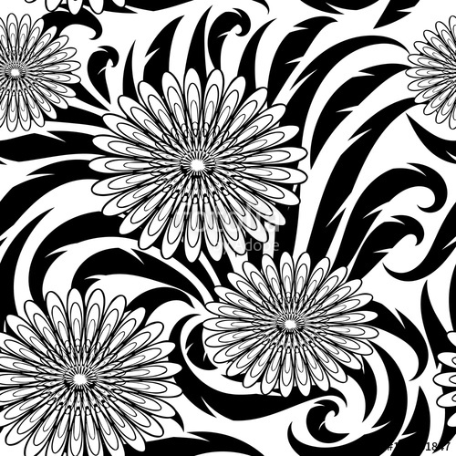 500x500 Flowers Vector Seamless Pattern. Black And White Floral Beautiful